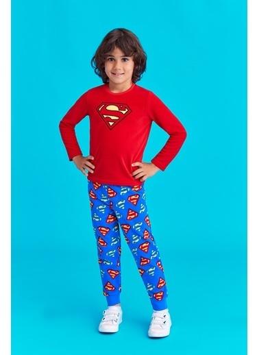 Superman Superman Lisanslı Erkek Çocuk Polar Pijama Takımı Kırmızı Kırmızı